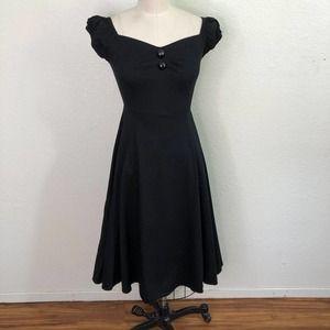 Collectif Retro Tea Dress Black Circle Skirt Pinup